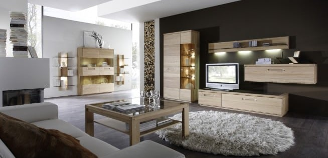 Wohnprogramm Delta in Eiche Bianco von Möbelwerke Decker