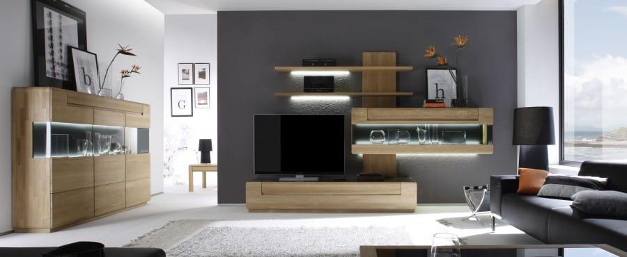 moderne Wohnwand aus Buche und Eiche