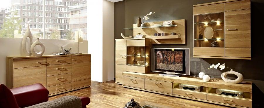 Wohnwände Holz Massiv Modern