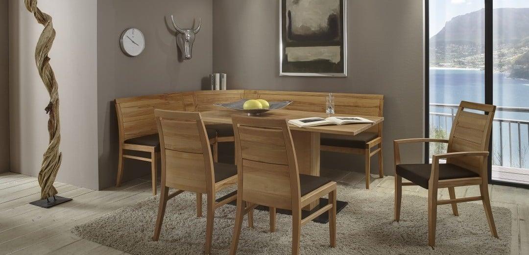 Tischgruppe Casera mit Eckbank aus MAssivholz