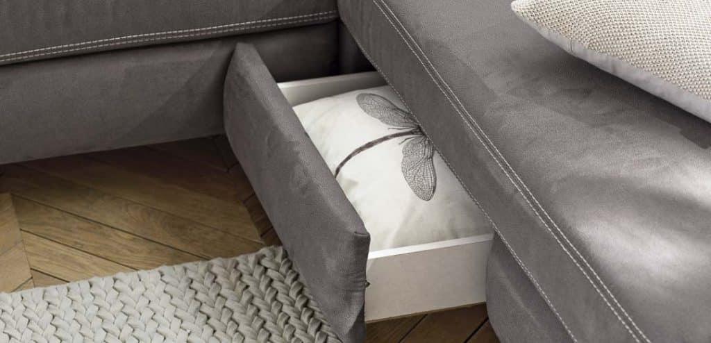 Sofa mit praktischer Stauraumschublade