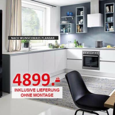 Einbauküche von Nobilia mit freistehendem Bosch KühlschrankKüchen