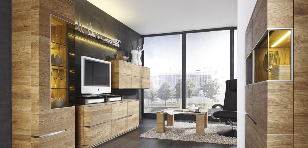 Acerro Wohnwand mit Glasschränken