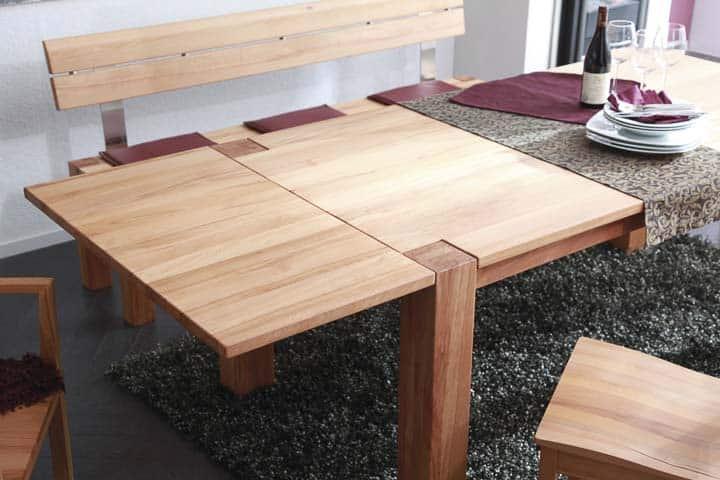 Tisch mit Ansteckplatte in Buche