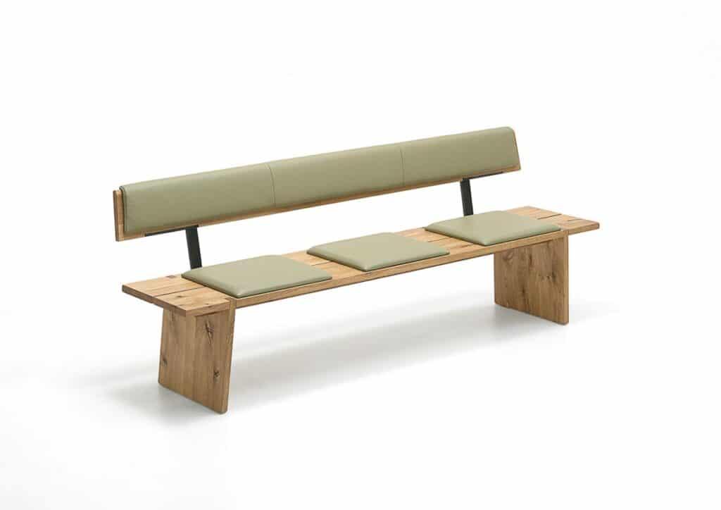 Sitzbank aus Eiche mit grünem Lederbezug