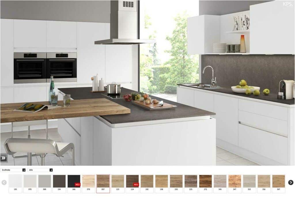 Weiße Küche mit dem Küchendesigner erstellt