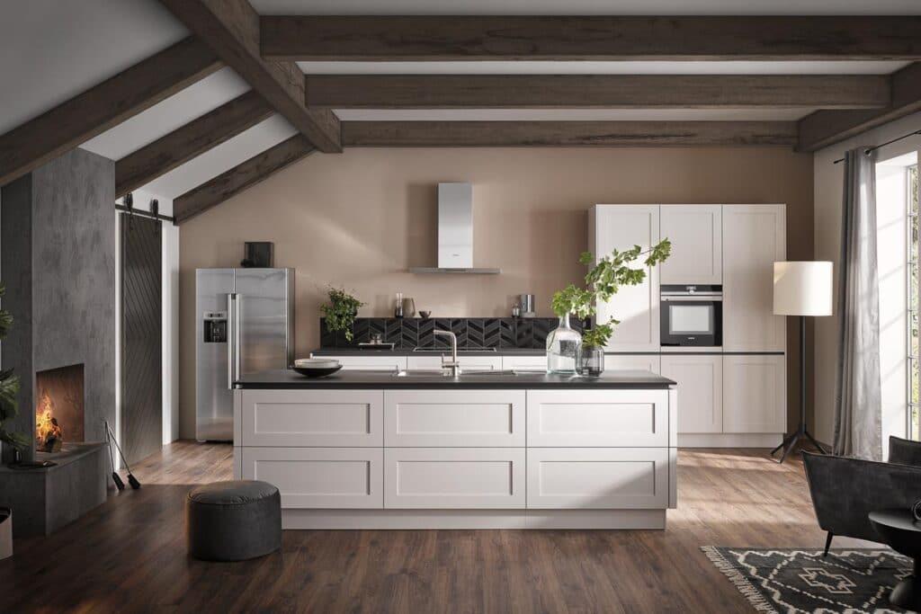 Häcker Systemat - moderne Landhausfront in weiß matt